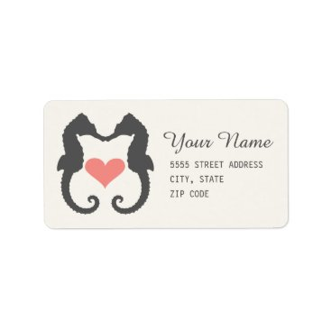 Beach Themed Seahorse Heart Label