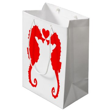 Beach Themed Seahorse & Heart Medium Gift Bag