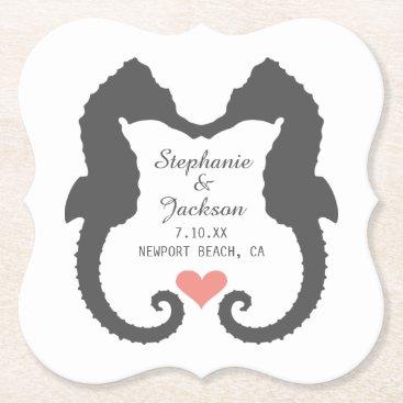 Beach Themed Seahorse Heart Paper Coaster