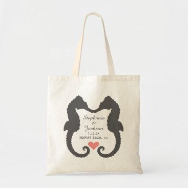 Beach Themed Seahorse Heart Tote Bag