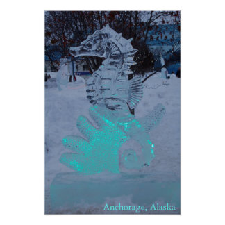 Seahorse Ice Sculpture Poster