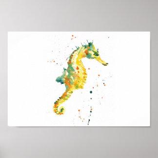 Seahorse, impresión del seahorse, seahorse amarill póster