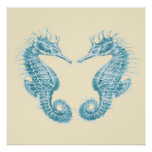 seahorse in love- teal poster