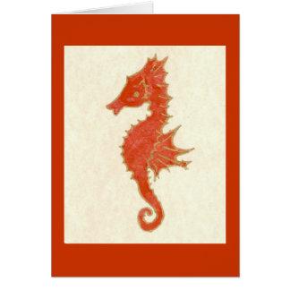 SEAHORSE IN ORANGE GREETING CARD
