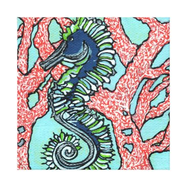 Beach Themed Seahorse in Red Coral Canvas Print