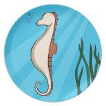 Seahorse in the ocean dinner plates