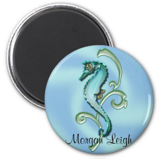 Seahorse in the Seaweed 2 Inch Round Magnet