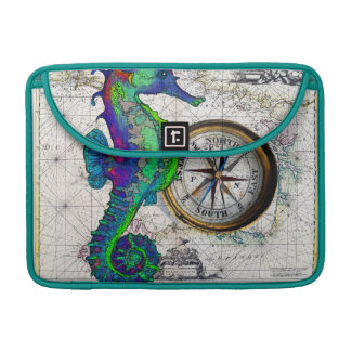 Seahorse Inky Compass Map Sleeve For MacBook Pro