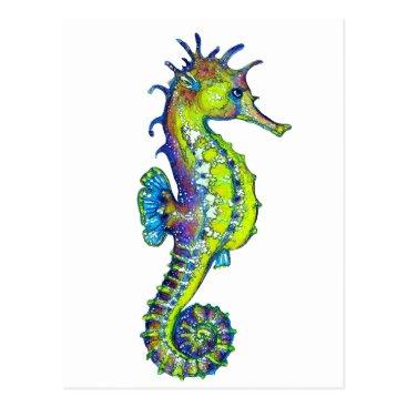 Beach Themed Seahorse Inky Lime Postcard