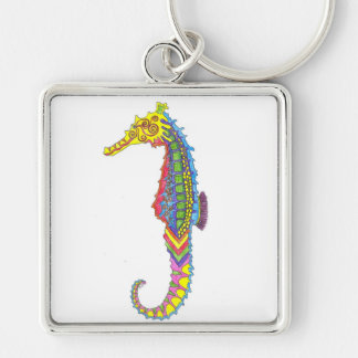 Seahorse Keyring Silver-Colored Square Keychain