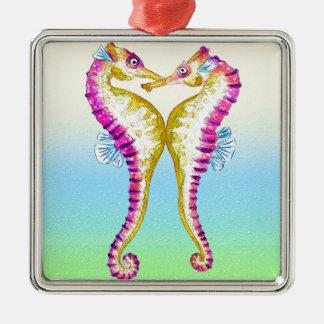 Seahorse Kiss Bubble Metal Ornament