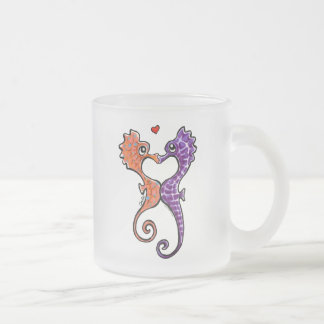 Seahorse Kiss Off-Leash Art™ Frosted Glass Coffee Mug