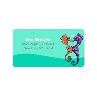 Seahorse Kiss Off-Leash Art™ Personalized Personalized Address Labels