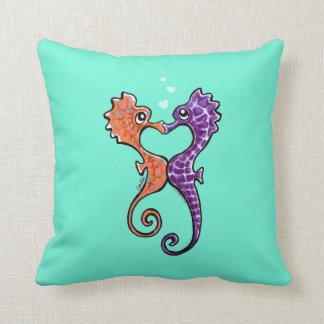 Seahorse Kiss Off-Leash Art™ Throw Pillow