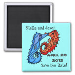 Seahorse kisses save the date 2 inch square magnet