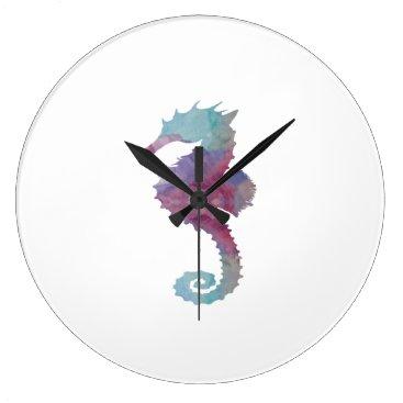 Beach Themed Seahorse Large Clock