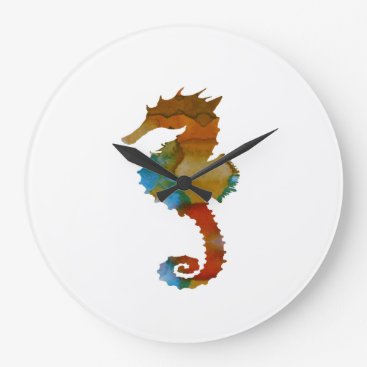 Beach Themed Seahorse Large Clock