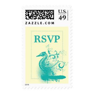 Seahorse ligero del verde de mar en RSVP que se Estampillas