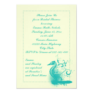 """Seahorse ligero del verde de mar que casa la ducha invitación 5"""" x 7"""""""