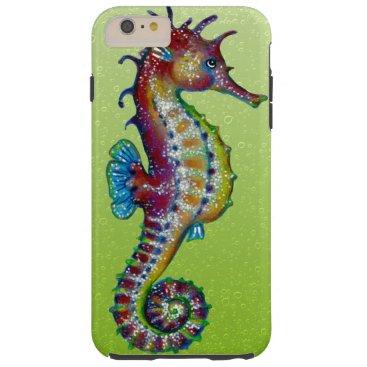 Beach Themed Seahorse Lime Green Tough iPhone 6 Plus Case