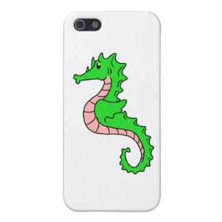 Seahorse lindo del verde del dibujo animado iPhone 5 cárcasas