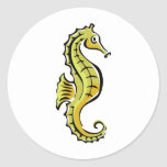 Seahorse lindo etiqueta redonda