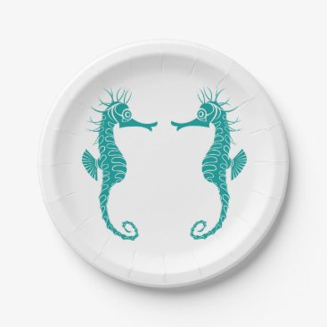 Beach Themed Seahorse Love Teal Turquoise - Beach Wedding Paper Plate