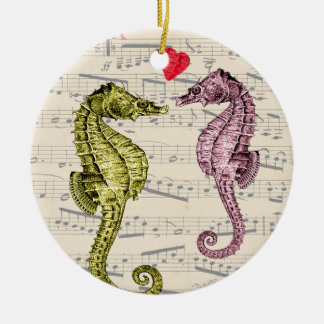 Seahorse Lovers on musical notes with heart Ceramic Ornament