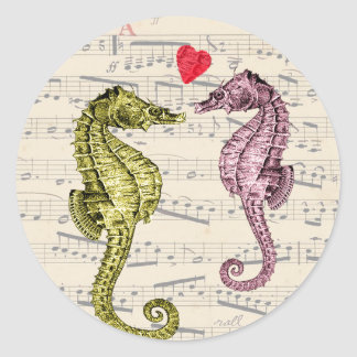 Seahorse Lovers on musical notes with heart Classic Round Sticker