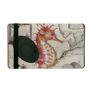 seahorse map old vintage red iPad cover