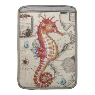 seahorse map old vintage red sleeve for MacBook air