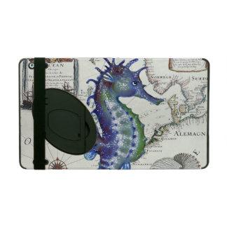Seahorse Map Vintage Blue iPad Case