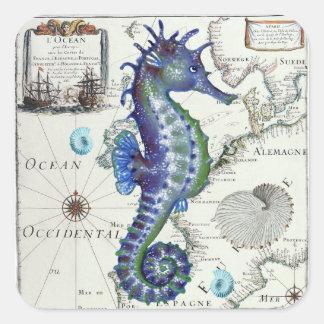 Seahorse Map Vintage Blue Square Sticker