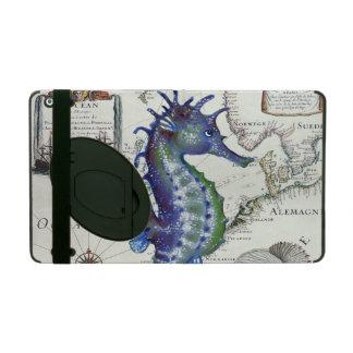 seahorse map vintage iPad folio case