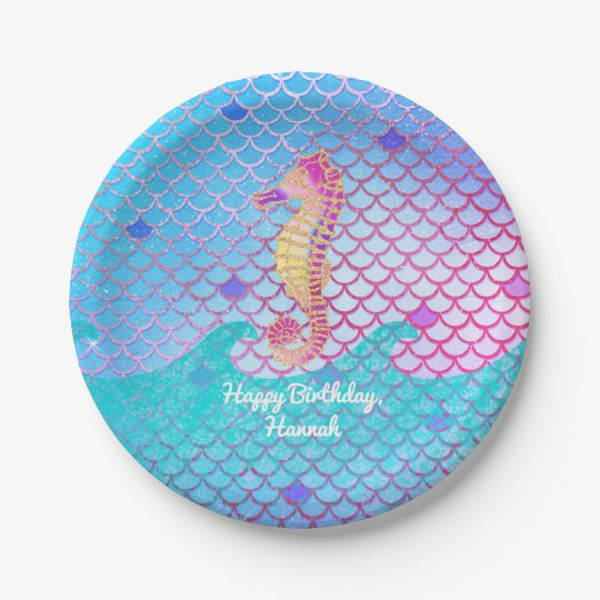 Seahorse Mermaid Birthday Party Personalized Paper Plate | Zazzle.com