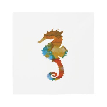 Beach Themed Seahorse Metal Photo Print