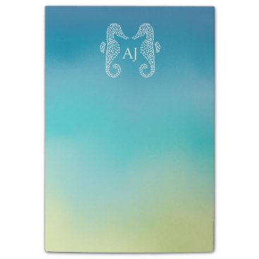 Beach Themed Seahorse Monogram Beach Ocean Ombre Post-it Notes