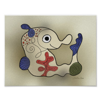 Seahorse Monster Abstract Miro Painting Poster