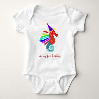 seahorse: My first birthday Baby Bodysuit