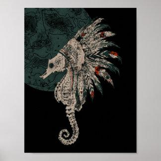 seahorse native night poster