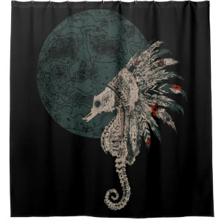 seahorse native night shower curtain