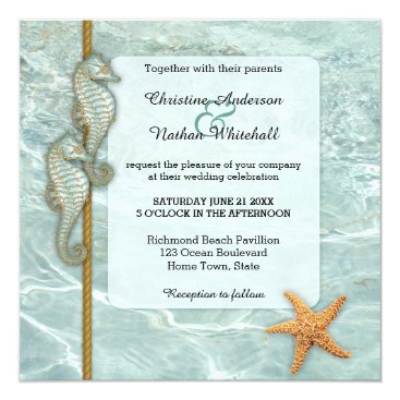 Beach Themed Seahorse Nautical Aqua Wedding Invitation