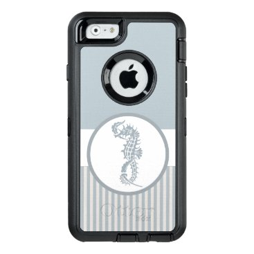 Beach Themed Seahorse Nautical Blue and White OtterBox Defender iPhone Case