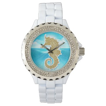 Beach Themed Seahorse Nautical Themed Gold and Blue Wristwatch