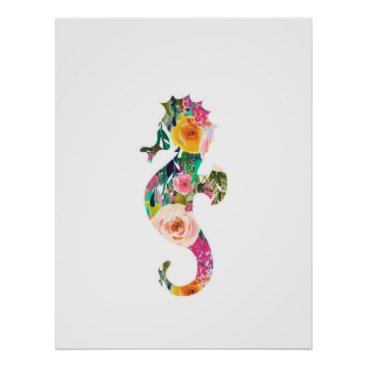 Beach Themed Seahorse nautical wall print nursery art