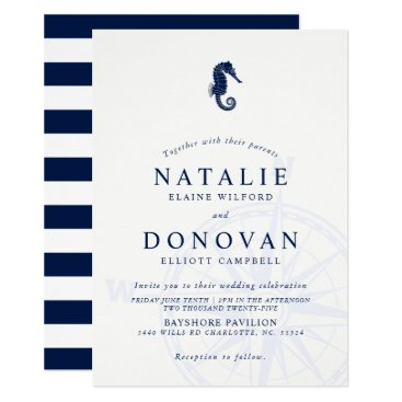 Beach Themed Seahorse Nautical Wedding Invitation