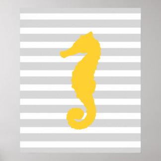 Seahorse náutico rayado amarillo y gris posters
