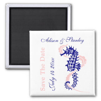 Seahorse navy blue, pink wedding Save the Date Magnet