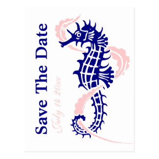 Seahorse navy blue, pink wedding Save the Date Postcard