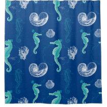 Seahorse Ocean Shells Sea Life Beach Home Decor Shower Curtain